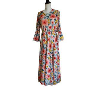 Vintage Original Design Floral Maxi Dress
